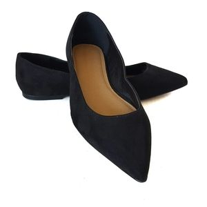 ASOS pointy toe black suede flats